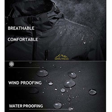 Volwassan Wasserdichte Damenjacke, leicht, für Bergtouren, Outdoor, Laufen, Angeln, Winddicht, Regenmantel mit Kapuze XS Schwarz - 5