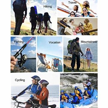 Volwassan Wasserdichte Damenjacke, leicht, für Bergtouren, Outdoor, Laufen, Angeln, Winddicht, Regenmantel mit Kapuze XS Schwarz - 6