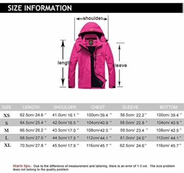 Volwassan Wasserdichte Damenjacke, leicht, für Bergtouren, Outdoor, Laufen, Angeln, Winddicht, Regenmantel mit Kapuze XS Schwarz - 7