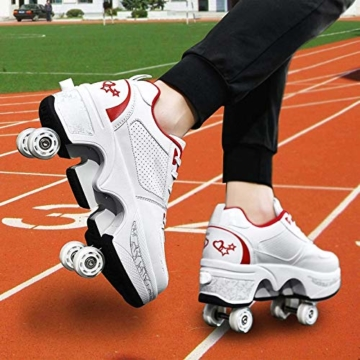 Fbestxie 2 in 1 Laufschuhe Turnschuhe Rädern Deformation Skateboard Schuhe Verstellbares Räder Skateboardschuhe Doppelrad,White red,38 - 2