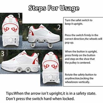 Fbestxie 2 in 1 Laufschuhe Turnschuhe Rädern Deformation Skateboard Schuhe Verstellbares Räder Skateboardschuhe Doppelrad,White red,38 - 4