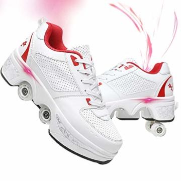 Fbestxie 2 in 1 Laufschuhe Turnschuhe Rädern Deformation Skateboard Schuhe Verstellbares Räder Skateboardschuhe Doppelrad,White red,38 - 1