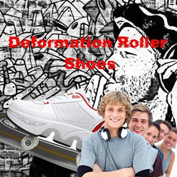 Fbestxie 2 in 1 Laufschuhe Turnschuhe Rädern Deformation Skateboard Schuhe Verstellbares Räder Skateboardschuhe Doppelrad,White red,38 - 5