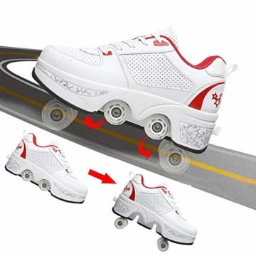 Fbestxie 2 in 1 Laufschuhe Turnschuhe Rädern Deformation Skateboard Schuhe Verstellbares Räder Skateboardschuhe Doppelrad,White red,38 - 6