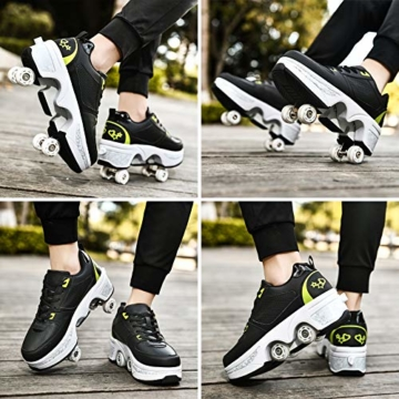 Fbestxie Inline Skates Casual Sneakers 2 in 1 Allrad-Deform Wheel Walk Dual Use Multifunktionale Mode Sneaker Deformationsschuhe Für Kinder Jungen Mädchen Rollschuhe,Black Green,38 - 2