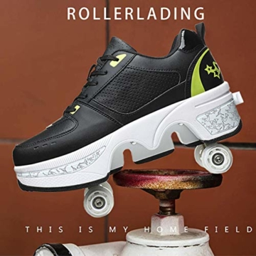 Fbestxie Inline Skates Casual Sneakers 2 in 1 Allrad-Deform Wheel Walk Dual Use Multifunktionale Mode Sneaker Deformationsschuhe Für Kinder Jungen Mädchen Rollschuhe,Black Green,38 - 3