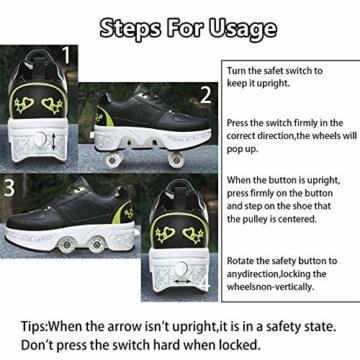 Fbestxie Inline Skates Casual Sneakers 2 in 1 Allrad-Deform Wheel Walk Dual Use Multifunktionale Mode Sneaker Deformationsschuhe Für Kinder Jungen Mädchen Rollschuhe,Black Green,38 - 4
