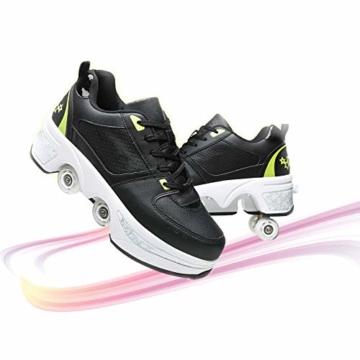 Fbestxie Inline Skates Casual Sneakers 2 in 1 Allrad-Deform Wheel Walk Dual Use Multifunktionale Mode Sneaker Deformationsschuhe Für Kinder Jungen Mädchen Rollschuhe,Black Green,38 - 1