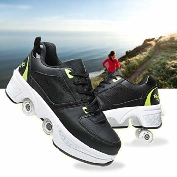 Fbestxie Inline Skates Casual Sneakers 2 in 1 Allrad-Deform Wheel Walk Dual Use Multifunktionale Mode Sneaker Deformationsschuhe Für Kinder Jungen Mädchen Rollschuhe,Black Green,38 - 5