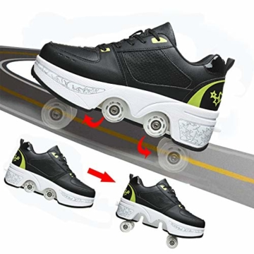 Fbestxie Inline Skates Casual Sneakers 2 in 1 Allrad-Deform Wheel Walk Dual Use Multifunktionale Mode Sneaker Deformationsschuhe Für Kinder Jungen Mädchen Rollschuhe,Black Green,38 - 6