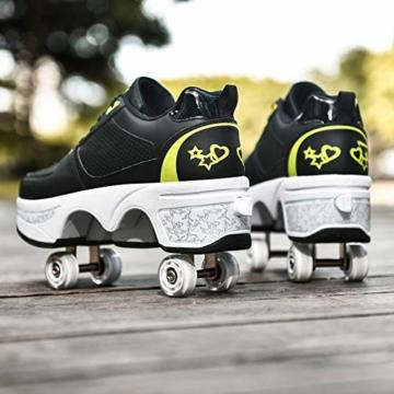Fbestxie Inline Skates Casual Sneakers 2 in 1 Allrad-Deform Wheel Walk Dual Use Multifunktionale Mode Sneaker Deformationsschuhe Für Kinder Jungen Mädchen Rollschuhe,Black Green,38 - 7
