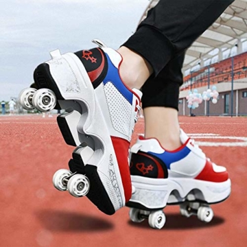 Fbestxie Kinder Roller Schuhe Skate Erwachsene Walk Deformation Schuhe Outdoor Laufschuhe Mit Rad,White Blue,38 - 2