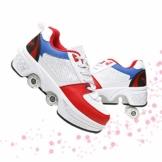 Fbestxie Kinder Roller Schuhe Skate Erwachsene Walk Deformation Schuhe Outdoor Laufschuhe Mit Rad,White Blue,38 - 1