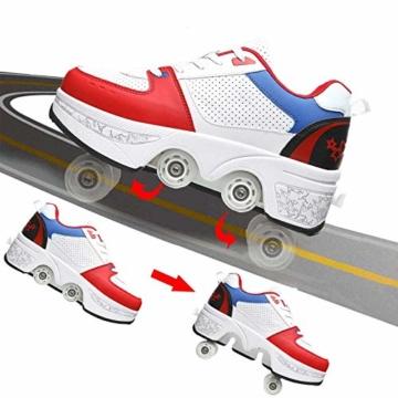 Fbestxie Kinder Roller Schuhe Skate Erwachsene Walk Deformation Schuhe Outdoor Laufschuhe Mit Rad,White Blue,38 - 4