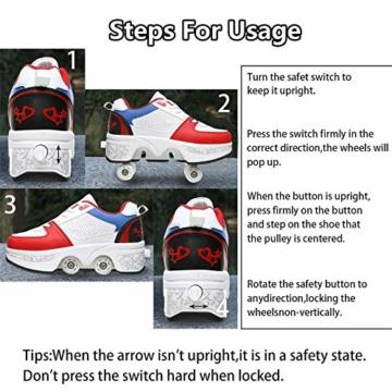 Fbestxie Kinder Roller Schuhe Skate Erwachsene Walk Deformation Schuhe Outdoor Laufschuhe Mit Rad,White Blue,38 - 5