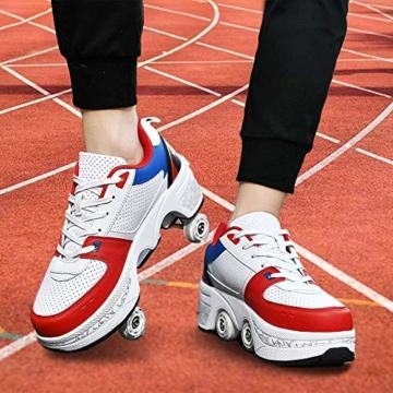 Fbestxie Kinder Roller Schuhe Skate Erwachsene Walk Deformation Schuhe Outdoor Laufschuhe Mit Rad,White Blue,38 - 6