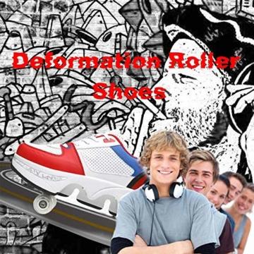 Fbestxie Kinder Roller Schuhe Skate Erwachsene Walk Deformation Schuhe Outdoor Laufschuhe Mit Rad,White Blue,38 - 7