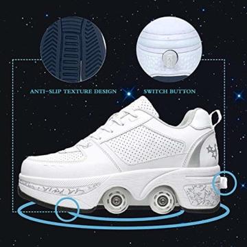 Fbestxie Laufschuhe Sportschuhe Kinder Skateboard Schuhe Kinderschuhe Mit Rollen Multifunktionale Deformation Schuhe Outdoor-, Indoor- Und Eisbahn-Skaten,White Silver,41 - 2