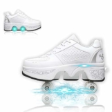 Fbestxie Laufschuhe Sportschuhe Kinder Skateboard Schuhe Kinderschuhe Mit Rollen Multifunktionale Deformation Schuhe Outdoor-, Indoor- Und Eisbahn-Skaten,White Silver,41 - 1