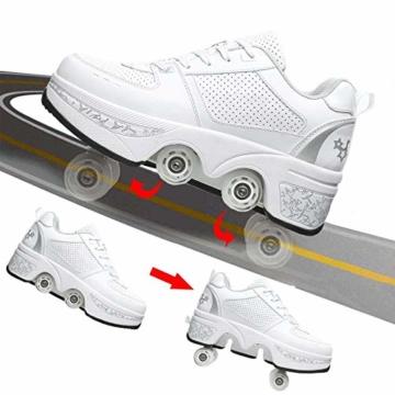 Fbestxie Laufschuhe Sportschuhe Kinder Skateboard Schuhe Kinderschuhe Mit Rollen Multifunktionale Deformation Schuhe Outdoor-, Indoor- Und Eisbahn-Skaten,White Silver,41 - 6