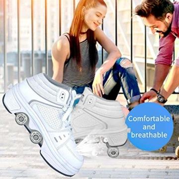 Fbestxie LED Rollschuhe Mit Räder,Mädchen Quad Roller Skates Damen Skate Roller,2-In-1- Skate Schuhe Sportschuhe Multifunktionale Deformation Schuhe Für Unsichtbare Schuhe Fersenroller Kinder,Weiß,36 - 2