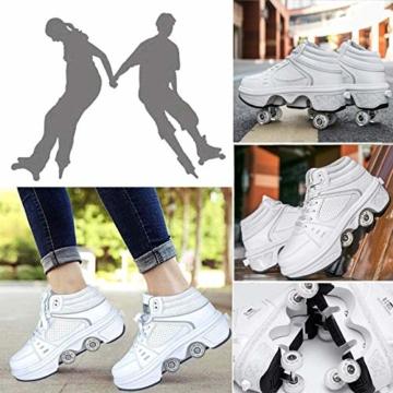 Fbestxie LED Rollschuhe Mit Räder,Mädchen Quad Roller Skates Damen Skate Roller,2-In-1- Skate Schuhe Sportschuhe Multifunktionale Deformation Schuhe Für Unsichtbare Schuhe Fersenroller Kinder,Weiß,39 - 5