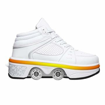 Fbestxie LED Rollschuhe Mit Räder,Mädchen Quad Roller Skates Damen Skate Roller,2-In-1- Skate Schuhe Sportschuhe Multifunktionale Deformation Schuhe Für Unsichtbare Schuhe Fersenroller Kinder,Weiß,35 - 1