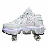 Fbestxie LED Rollschuhe Mit Räder,Mädchen Quad Roller Skates Damen Skate Roller,2-In-1- Skate Schuhe Sportschuhe Multifunktionale Deformation Schuhe Für Unsichtbare Schuhe Fersenroller Kinder,Weiß,36 - 1