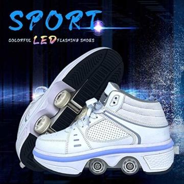Fbestxie LED Rollschuhe Mit Räder,Mädchen Quad Roller Skates Damen Skate Roller,2-In-1- Skate Schuhe Sportschuhe Multifunktionale Deformation Schuhe Für Unsichtbare Schuhe Fersenroller Kinder,Weiß,35 - 2