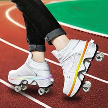 Fbestxie LED Rollschuhe Mit Räder,Mädchen Quad Roller Skates Damen Skate Roller,2-In-1- Skate Schuhe Sportschuhe Multifunktionale Deformation Schuhe Für Unsichtbare Schuhe Fersenroller Kinder,Weiß,35 - 6