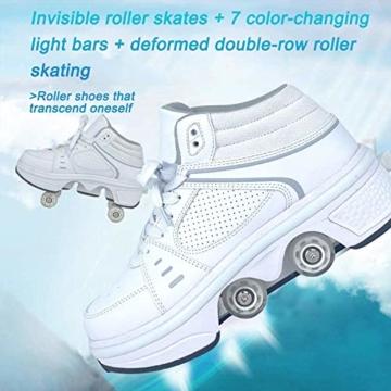 Fbestxie LED Rollschuhe Mit Räder,Mädchen Quad Roller Skates Damen Skate Roller,2-In-1- Skate Schuhe Sportschuhe Multifunktionale Deformation Schuhe Für Unsichtbare Schuhe Fersenroller Kinder,Weiß,36 - 7