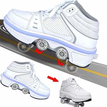 Fbestxie LED Rollschuhe Mit Räder,Mädchen Quad Roller Skates Damen Skate Roller,2-In-1- Skate Schuhe Sportschuhe Multifunktionale Deformation Schuhe Für Unsichtbare Schuhe Fersenroller Kinder,Weiß,36 - 8