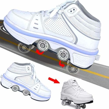 Fbestxie LED Rollschuhe Mit Räder,Mädchen Quad Roller Skates Damen Skate Roller,2-In-1- Skate Schuhe Sportschuhe Multifunktionale Deformation Schuhe Für Unsichtbare Schuhe Fersenroller Kinder,Weiß,39 - 2