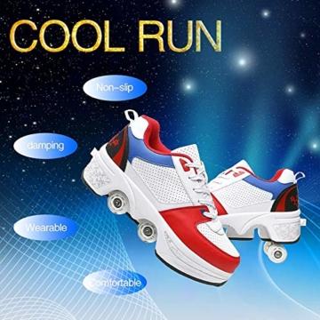 Fbestxie Multifunktionale Deformation Schuhe Quad Skate Rollschuhe Skating Outdoor Sportschuhe Für Erwachsene Sneakers Mit Rollen,White Blue,39 - 6