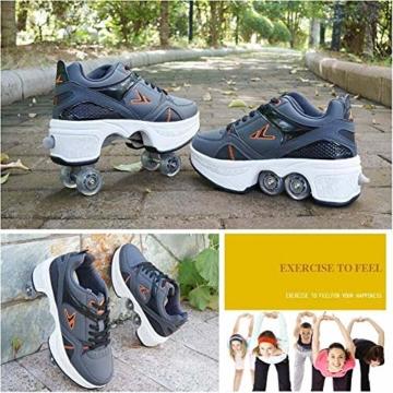 Fbestxie Multifunktionale Deformation Schuhe Quad Skate Rollschuhe Skating Outdoor Sportschuhe für Kinder Erwachsene,40 - 4