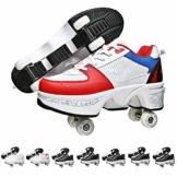 Fbestxie Multifunktionale Deformation Schuhe Quad Skate Rollschuhe Skating Outdoor Sportschuhe Für Erwachsene Sneakers Mit Rollen,White Blue,39 - 1