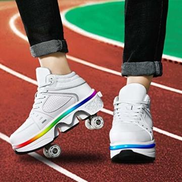 Fbestxie Roller Skates Skating-Schuhe Für Männer Und Frauen Automatische Wanderschuhe Für Erwachsene Unsichtbare Riemenscheibenschuhe Skates Mit Zweireihigem Deform-Rad,High Help,39 - 2