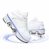 Fbestxie Roller Skates Skating-Schuhe Für Männer Und Frauen Automatische Wanderschuhe Für Erwachsene Unsichtbare Riemenscheibenschuhe Skates Mit Zweireihigem Deform-Rad,High Help,39 - 1
