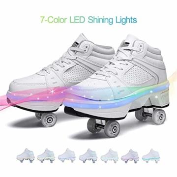 Fbestxie Roller Skates Skating-Schuhe Für Männer Und Frauen Automatische Wanderschuhe Für Erwachsene Unsichtbare Riemenscheibenschuhe Skates Mit Zweireihigem Deform-Rad,High Help,39 - 6