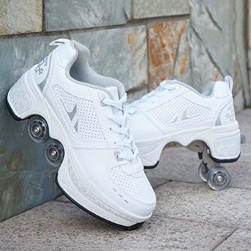 Fbestxie Roller Skates, verstellbar, Inlineskates für Kinder, vier Rollen, Mädchen, Schuhe mit Rollen, Deform Wheels Skates Kick Roller Shoe, Walking Skates Männer Frauen, Weiß - weiß - Größe: 41 EU - 2