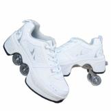 Fbestxie Roller Skates, verstellbar, Inlineskates für Kinder, vier Rollen, Mädchen, Schuhe mit Rollen, Deform Wheels Skates Kick Roller Shoe, Walking Skates Männer Frauen, Weiß - weiß - Größe: 41 EU - 1