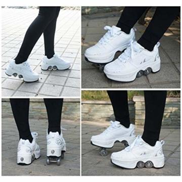 Fbestxie Roller Skates, verstellbar, Inlineskates für Kinder, vier Rollen, Mädchen, Schuhe mit Rollen, Deform Wheels Skates Kick Roller Shoe, Walking Skates Männer Frauen, Weiß - weiß - Größe: 41 EU - 4
