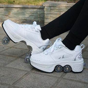 Fbestxie Roller Skates, verstellbar, Inlineskates für Kinder, vier Rollen, Mädchen, Schuhe mit Rollen, Deform Wheels Skates Kick Roller Shoe, Walking Skates Männer Frauen, Weiß - weiß - Größe: 41 EU - 5