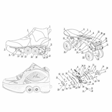 Fbestxie Roller Skates, verstellbar, Inlineskates für Kinder, vier Rollen, Mädchen, Schuhe mit Rollen, Deform Wheels Skates Kick Roller Shoe, Walking Skates Männer Frauen, Weiß - weiß - Größe: 41 EU - 6