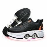 Fbestxie Rollschuhe Mädchen Quad Roller Skates Damen Skate Roller,2-In-1- Skate Schuhe Sportschuhe Multifunktionale Deformation Schuhe Für Mädchen Unsichtbare Schuhe Kinder,Black orange,38 - 1