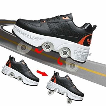 Fbestxie Rollschuhe Mädchen Quad Roller Skates Damen Skate Roller,2-In-1- Skate Schuhe Sportschuhe Multifunktionale Deformation Schuhe Für Mädchen Unsichtbare Schuhe Kinder,Black orange,38 - 3