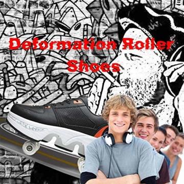 Fbestxie Rollschuhe Mädchen Quad Roller Skates Damen Skate Roller,2-In-1- Skate Schuhe Sportschuhe Multifunktionale Deformation Schuhe Für Mädchen Unsichtbare Schuhe Kinder,Black orange,38 - 5