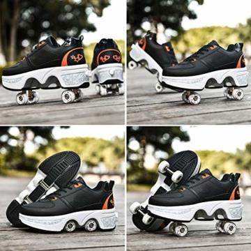 Fbestxie Rollschuhe Mädchen Quad Roller Skates Damen Skate Roller,2-In-1- Skate Schuhe Sportschuhe Multifunktionale Deformation Schuhe Für Mädchen Unsichtbare Schuhe Kinder,Black orange,38 - 7