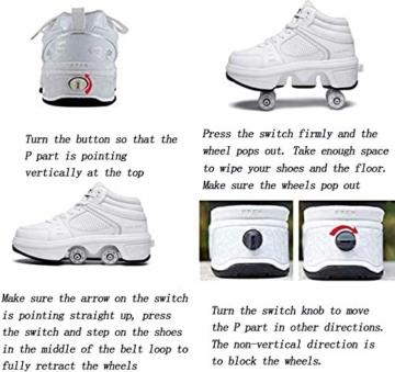 FLY FLU Schuhe Mit Rollen Skateboardschuhe,Inline-Skate,2-in-1-Mehrzweckschuhe,Verstellbare Quad-Rollschuh-Stiefel-Männliche Und Weibliche Paare 35-43EU,White-38 - 2