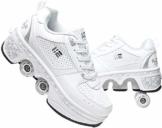 FLY FLU Schuhe Mit Rollen Skateboardschuhe,Inline-Skate,2-in-1-Mehrzweckschuhe,Verstellbare Quad-Rollschuh-Stiefel-Männliche Und Weibliche Paare 35-43EU,White-38 - 1